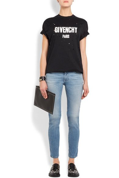 Givenchy - Printed Low-rise Skinny Jeans - Mid denim - FR34