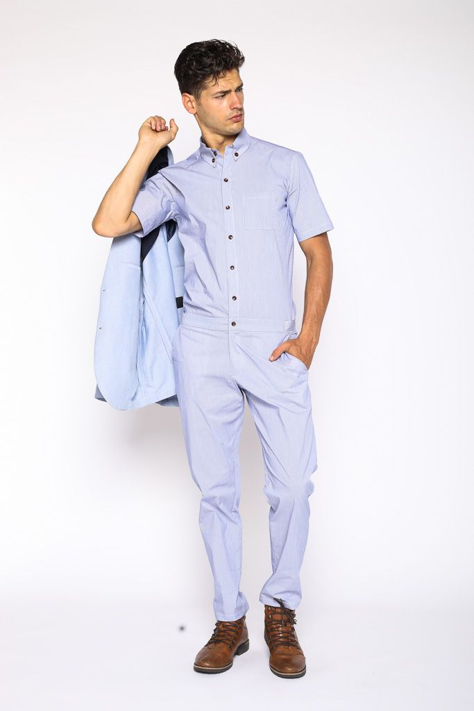 66fc45781048 Mens Light blue pinstripe jumpsuit