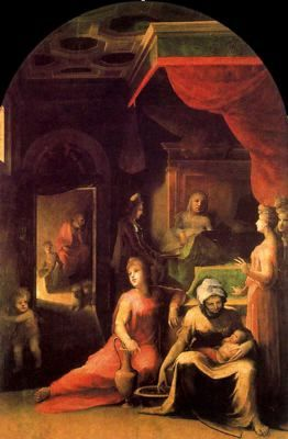 Ciudad de la pintura - BACCHIACCA, Francesco Italian High Renaissance (1494-1557)_La Natividad de la Virgen c. 1543