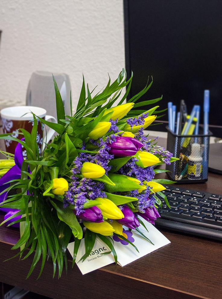 Buchet cu lalele colorate. Tulip bouquet
