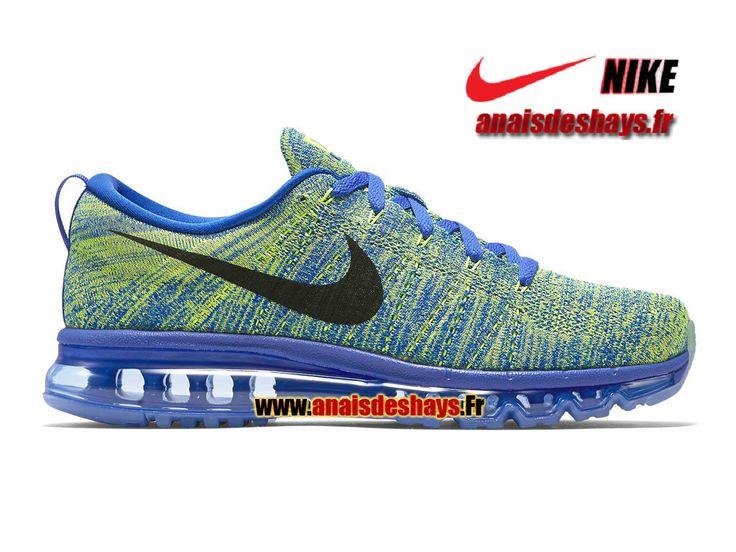 Boutique Officiel Nike Flyknit Air Max Homme Bleu coureur/Volt/Bleu craie/Noir 620469-402