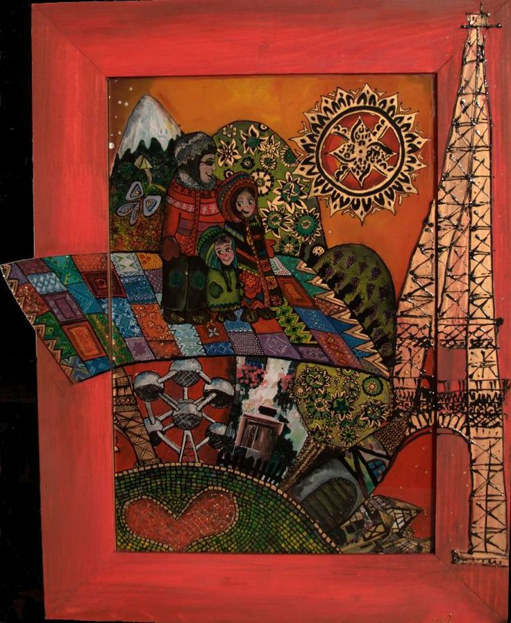 The magic carpet (SOLD), a Glass on  by Teli Iacsa from Switzerland. It portrays: Family, relevant to: travelling, magic carpet, eiffel, oil on glass, flying oil and ink on glass; it's about my family, travelling trough Europe on the magic carpet.