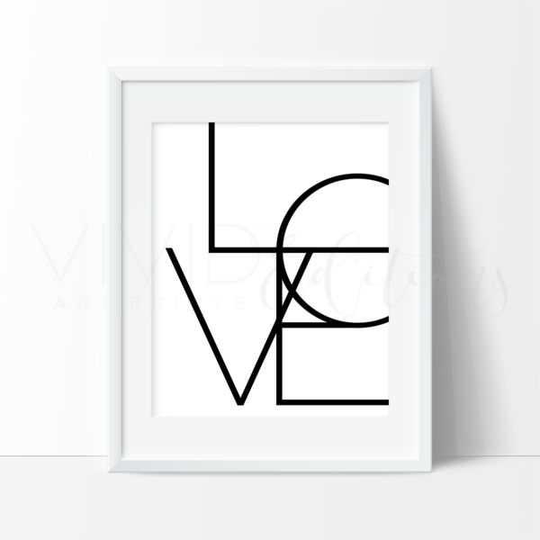 LOVE Typography Minimalist Black & White Art Print. Decorate your home or nursery with minimalist wall art prints from VividEditions. Modern Contemporary Art prints for adults and children of all ages.  View our large selection of home and baby wall decor at vivideditions.com