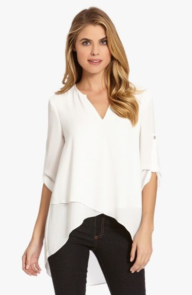 Shana, black or blue would be good. Burgundy?  Karen Kane Asymmetrical Wrap Hem Top available at #Nordstrom