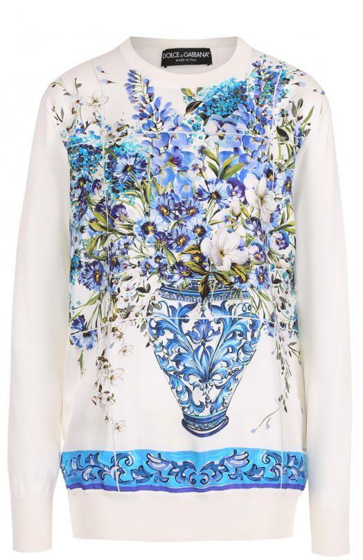 Женский синий шелковый пуловер с ярким принтом DOLCE & GABBANA — купить за 66450 руб. в интернет-магазине ЦУМ, арт. 0102/FR005K/F88AE