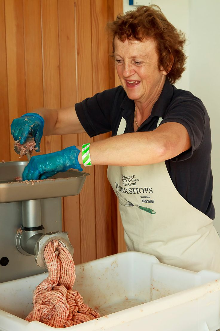 Sue Whitehead from Lane Farm making sausages at Aldeburgh Food & Drink Festival 2013