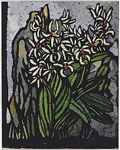 """Margaret Preston """"Rock Lily (Native Orchids),"""" 1953. Printed in colour from one hand-cut paper stencil. National Gallery of Australia © Margaret Preston."""