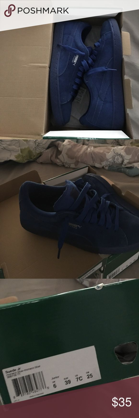 Blue Pumas Suede SIZE IS 7 IN GRADE SCHOOL SO PLEASE LOOK UP CONVERSION TO YOUR SIZE BEFORE MESSAGING Puma Shoes Athletic Shoes