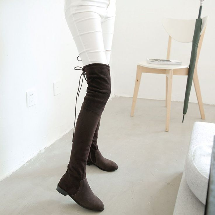 Over-The-Knee Flat Boot Winter Womens Plus Size Shoe Thigh High Suede Boots Elastic Slim Long Boots Lowland Boots