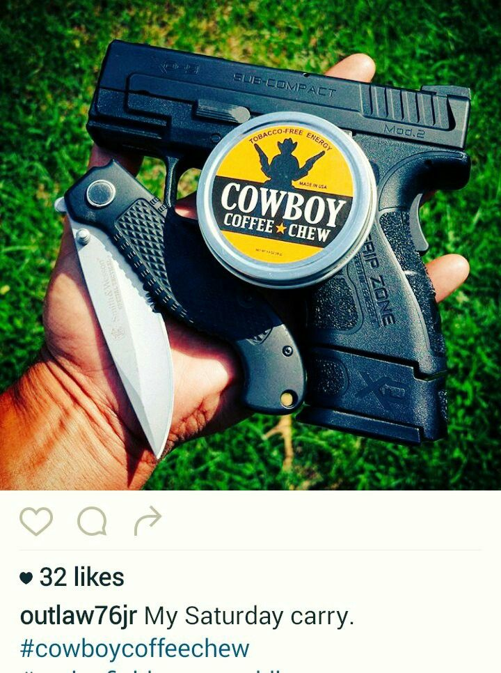 Cool picture posted By Gary Jr @outlaw76jr Guns, Knives & Caffeine ENERGY https://www.instagram.com/outlaw76jr/ Team Cowboy Coffee Chew #guns #knives #weapon #coffee
