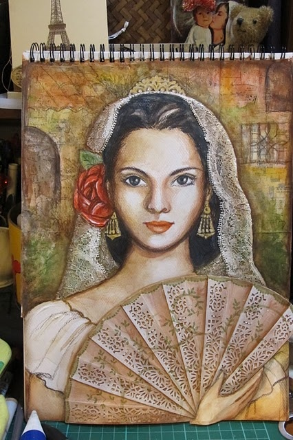 Spanish Senorita mixed media art portrait.