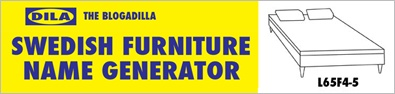 Ikea name generator. Ever wonder what would your name be if you were Swedish furniture??Here's your chance to find out!