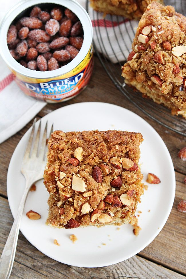 Almond Coffee Cake Recipe on twopeasandtheirpod.com This simple coffee cake recipe is great for breakfast, brunch, or dessert. It is the BEST coffee cake recipe!