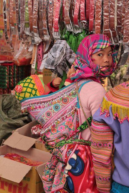 Hmong in weekly market in Cao Son, Northwest Vietnam.