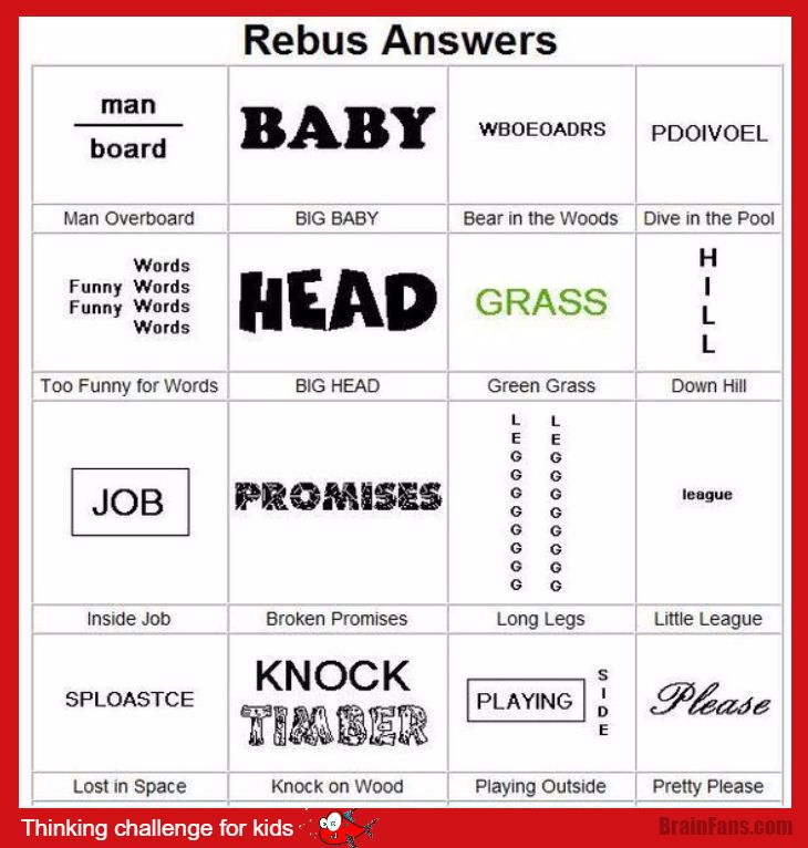 Brain teaser - Kids Riddles Logic Puzzle - rebus for kids ...