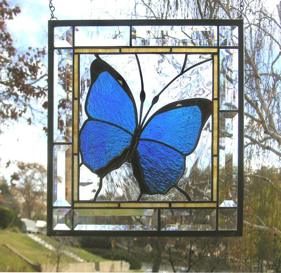 Blue morpho butterfly framed 13 5 x 13 5 stained glass for Window glass design 5 serial number