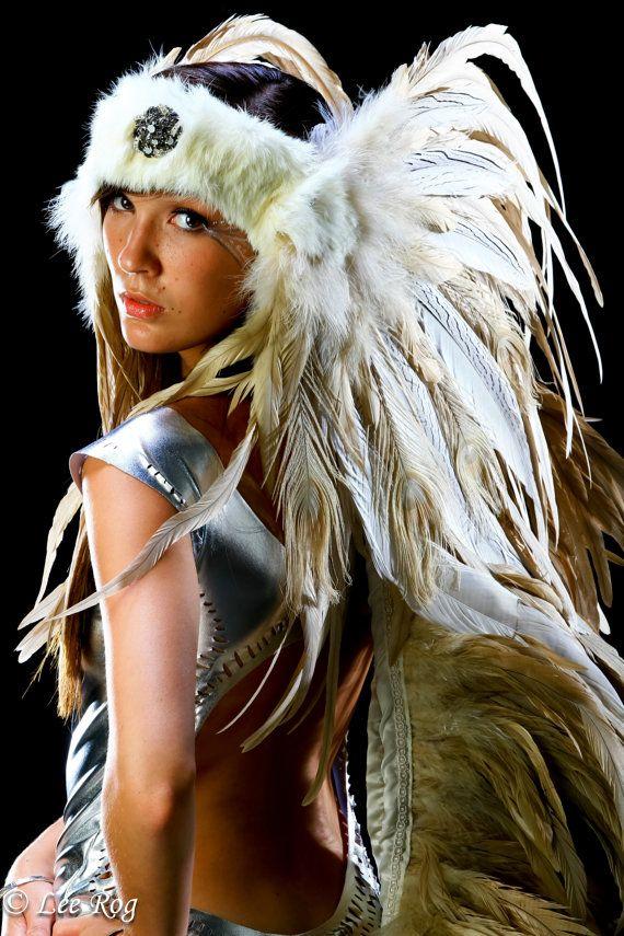 Ashnil Feather Headdress with Feather Train