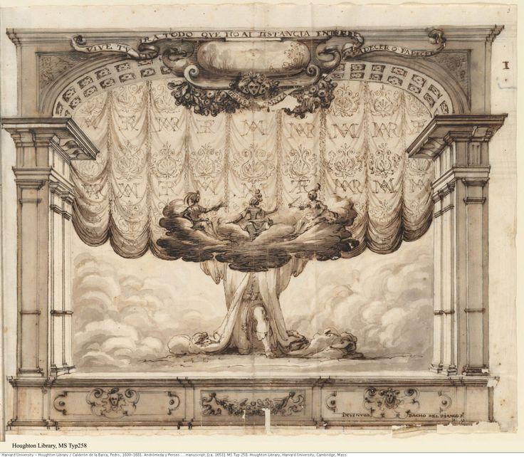 BACCIO DE BIANCO, ESCENOGRAFÍA DE ANDRÓMEDA Y PERSEO, 1653. HARVARD UNIVERSITY,El auditorio era en forma de U.  En él se desarrollaron las alabadas comedias de tramoyas de LOTTI para cambiar decorados. Solo ha quedado conservado dibujos a mano de su sucesor en el cargo  BACCIO DE BIANCO, realizados con motivo de la representación en 1653 de Andrómeda y Perseo de Calderón