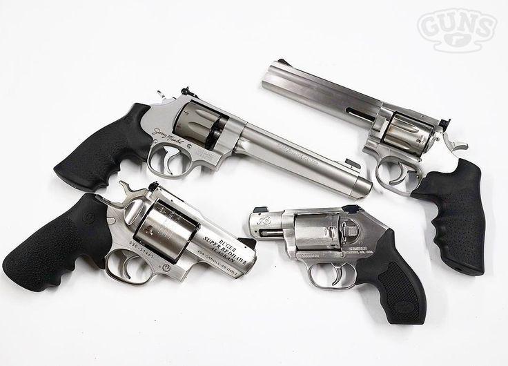 Smith & Wesson 929 (9mm)  Dan Wesson 715 (.357 Magnum)  Kimber K6s (.357 Magnum)  Ruger Super Redhawk Alaskan (.454 Casull)