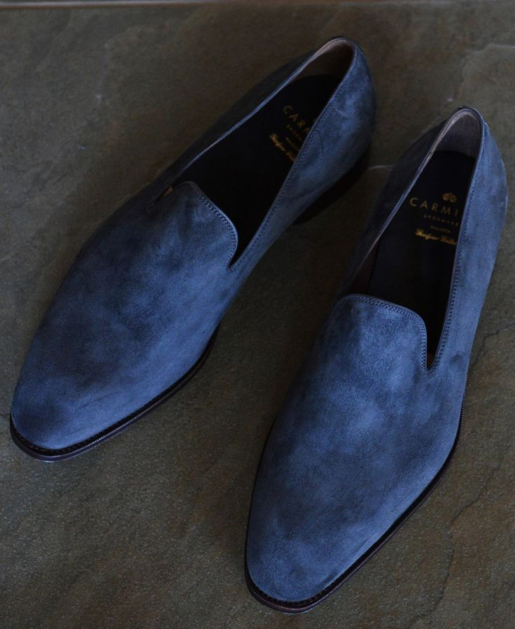 Love these blue suede loafers - perfect for both casual and dress occasions.