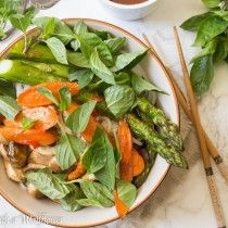 This roasted summer vegetable spring roll bowls with tamarind sesame vinaigrette is loaded with seasonal vegetables, perfect for hot summer days.