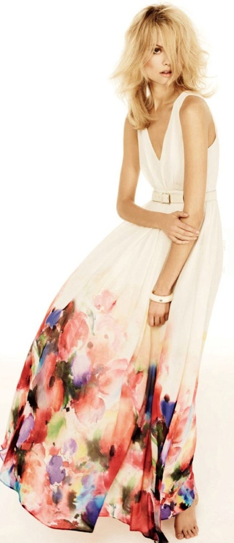 Watercolor Maxi ♥✤ | Keep the Glamour | BeStayBeautiful. Minus the belt