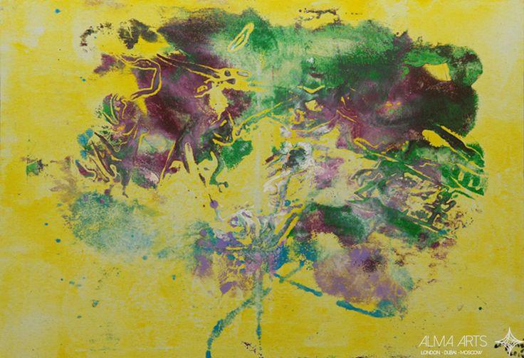 """Mehriban Shamsadinskaya - Alma Arts Agency """"Mood is yellow"""", 2014. Oil on canvas 70x100cm"""