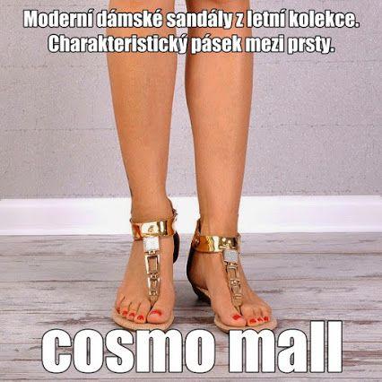 Moderní dámské sandály z letní kolekce.  Charakteristický pásek mezi prsty.  Na povrchu ozdobené zlatou bižuterií.  Plná pata se zapínáním na zip.  Nízký klín zajišťuje pohodlí.  Sandálky jsou lehké a prodyšné. Stylové a elegantní.  Klín: 3cm  Výška boty: 9-10cm (záleží od velikosti)  Obvod horního lemu: 24-25cm (záleží od velikosti)  Materiál: eko kůže www.cosmopolitus.com
