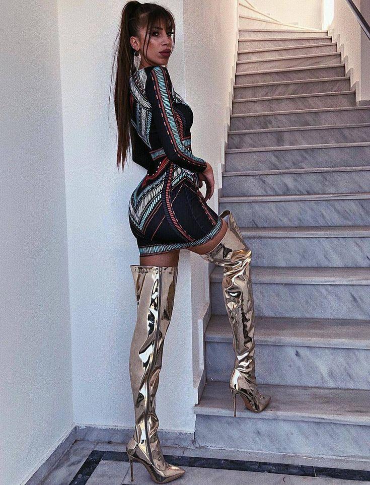 Bodycon minidress and metallic gold thigh boots