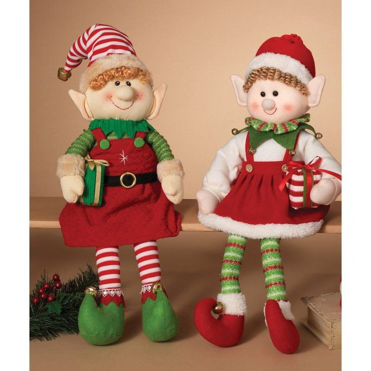 Gerson 25 in. Plush Elf Shelf Sitters - Set of 2 - 2160050