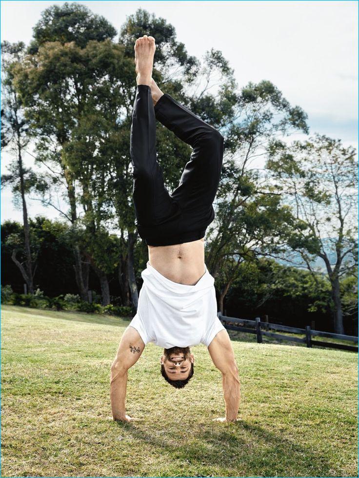Doug Inglish photographs Chris Hemsworth doing a handstand for GQ Australia.