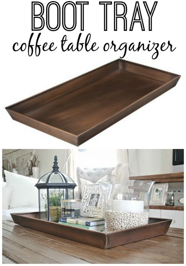 Use the Target Smith & Hawkin Copper Boot Tray for coffee table décor. Display plants, lantern, vase, candle books, photos, etc. in it