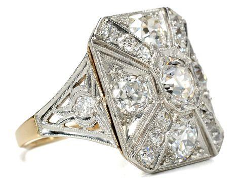 Big Bold Beautiful Art Deco Diamond Ring - Circa 1930.
