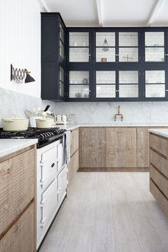 Blakes London Industrial Chic reclaimed floors sanded back, whitewashed with waterbase paint, sealed. subway tile inside cabinets, marble counters, rustic wood cabinets