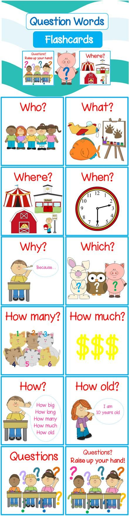 *FREE* Question Words Flashcards (Includes When, What Where, When, Why, Which, How, How Many, How Much, How old, How often) - Repinned by Chesapeake College Adult Ed. We offer free classes on the Eastern Shore of MD to help you earn your GED - H.S. Diploma or Learn English (ESL) . For GED classes contact Danielle Thomas 410-829-6043 dthomas@chesapeke.edu For ESL classes contact Karen Luceti - 410-443-1163 Kluceti@chesapeake.edu . www.chesapeake.edu