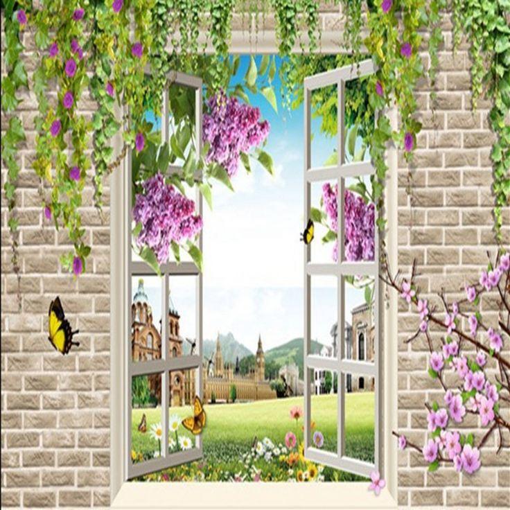 3d стереоскопический обои теплых гостиная спальня ТВ фоновые обои фрески поддельные окна пейзаж кирпич цветок