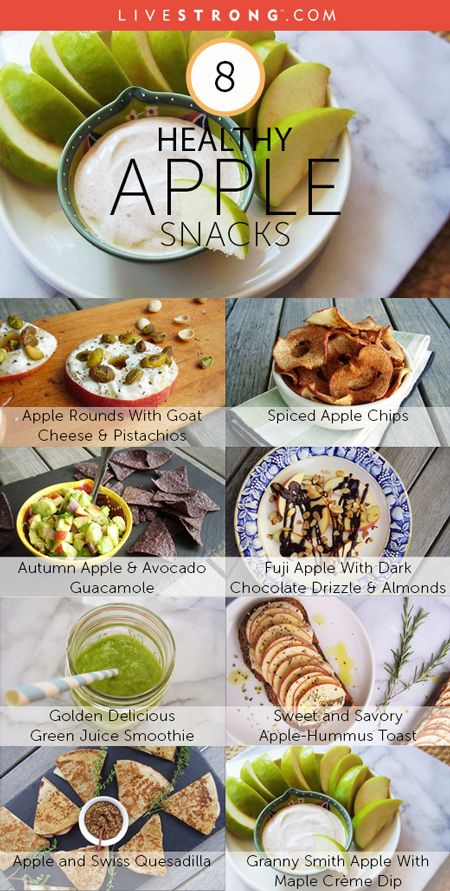 Apples pack a punch of dietary fiber & polyphenols. Here are 8 delicious apple snack ideas: http://www.livestrong.com/slideshow/1009141-5-healthy-apple-snacks
