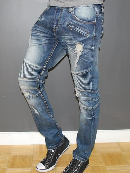 Slim Fit Washed Blue Biker Distressed Jeans PLEASE NOTE THE LENGTH IS 33 (FOR ALL WAIST SIZES) size : W x L (Waist x Length) -98% Cotton 2% Spandex -Zipper Fly -SLIM FIT