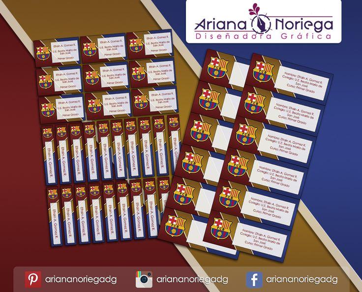 Kit Imprimible de #etiquetas personalizadas con el motivo #BarcelonaFC. | 3 tamaños: 9 x 3,5 cm, 5 x 1 cm y 5 x 3 cm. |   Personalized and printable #labels pack - #BarcelonaFC.  | 3 sizes: 9 x 3,5 cm, 5 x 1 cm and 5 x 3 cm. |   Tienda/Shop: https://www.etsy.com/es/shop/ArianaDesignStore