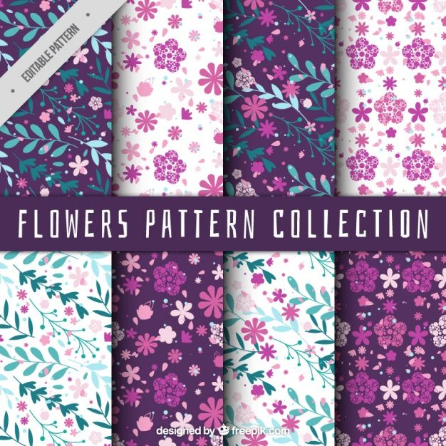 Assortment of fantastic patterns with flowers and leaves Free Vector