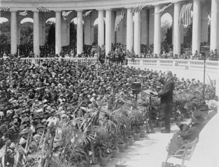 President Coolidge addressing crowds at Arlington National Cemetery.