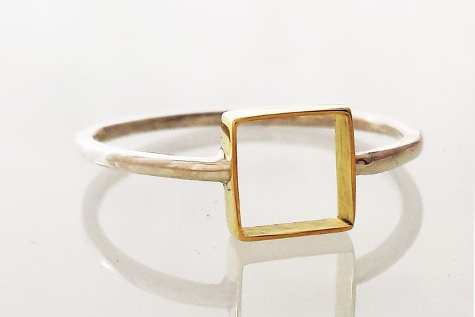 Brass silhouette square Ring by Gin and Tee Jewellery for sale on http://hellopretty.co.za