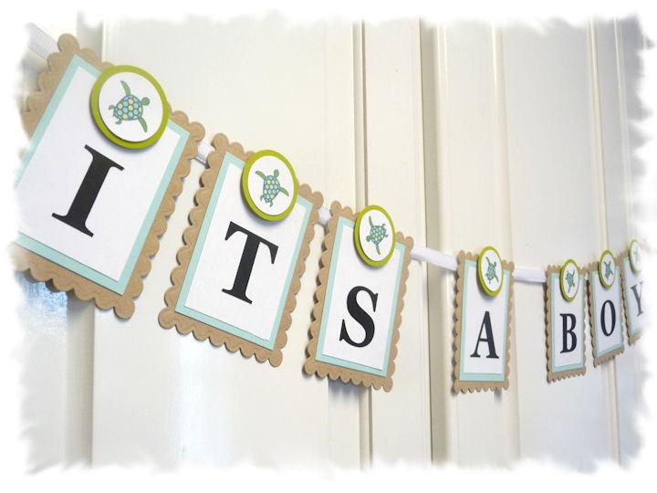 Its A Boy - Baby Shower Banner - Sea Turtle Theme - Sun and Surf. $17.00, via Etsy.