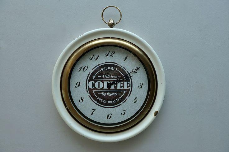 Orologio da Parete In Legno Artigianale Numeri Romani da Muro Bianco Tondo 3901b