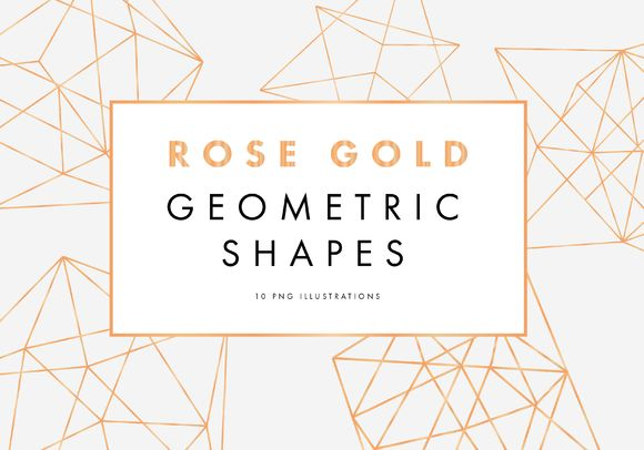 Rose Gold Geometric Pattern. This digital download is a set of 10 PNG Gold Geometric Shapes. All ten shapes are previewed in the image of this listing. All files are 2500 × 2500 (or slightly bigger depending on shape) PNG 300 dpi in high resolution to make it easy for scaling. polygon freebie thru 4/17/16
