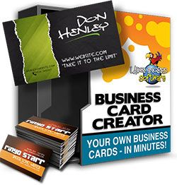 Business Card Creator  - A sortware for Making Your Own Professional Business Card in minutes.   Modify high quality business card and logo templates. Print them yourself, or have them printed online (built in!) and sent right to your door!    http://emarketingtoolscentral.com/listing/easiest-business-card-creation-software-with-the-logo-creator/  http://emarketingtoolscentral.com/listing/graphics-marketing-software-online-business/