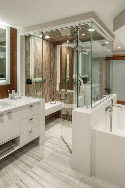 Contemporary Master Bathroom With Porcelain Floor Tile Double Vanity Glass Shower Modern