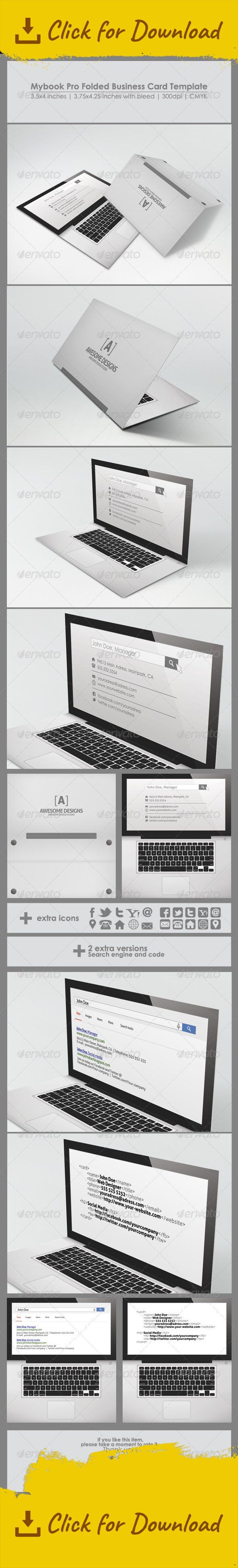 business card, card, code, company, computer, creative, fold, folded, grey, keyboard, laptop, modern, multimedia, personal, print, search, technology, web, white                                          	Mybook Pro Folded Business Card Template   	Print ready template. Very easy to modify, color, edit and resize.   	Features:  PSD Files Print ready Editable vector shapes Editable text 3.5×4 inches 3.75×4.25 inches with bleed 300 dpi, CMYK layered and organised 3 versions small icons pack ...