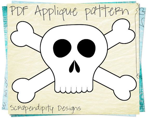 Skull Applique Pattern - Pirate Applique Template / Skull and Crossbones Applique Shirt / Boys Pirate Quilt Pattern / Digital PDF by ScrapendipityDesigns, $2.50