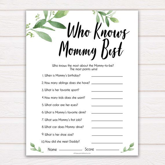 Botanical Who Knows Mommy Best Quiz, Baby Shower Games